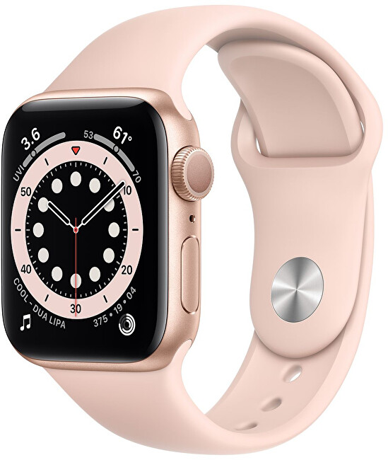 Apple Watch Series 6 44mm zlatý hliník s pískově růžovým sportovním řemínkem