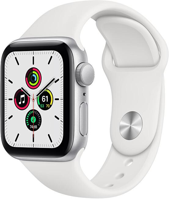 Apple Watch Series SE 44mm stříbrný hliník s bílým sportovním řemínkem