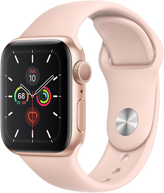 Apple Watch Series SE 44mm zlatý hliník s pískově růžovým sportovním řemínkem