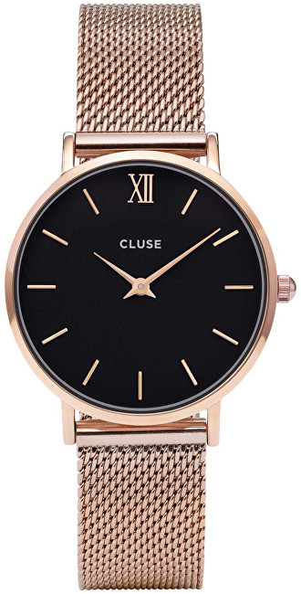Cluse Minuit Mesh Rose Gold-Black CL30016