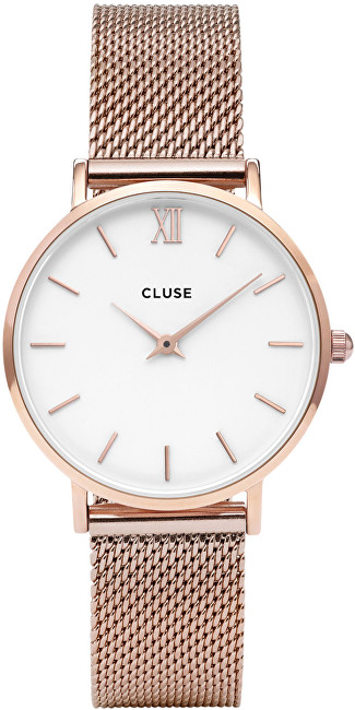 Cluse Minuit Mesh Rose Gold-White CL30013