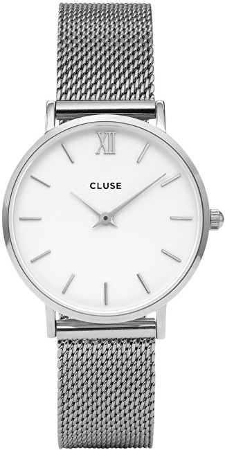 Cluse Minuit Mesh Silver-White CL30009