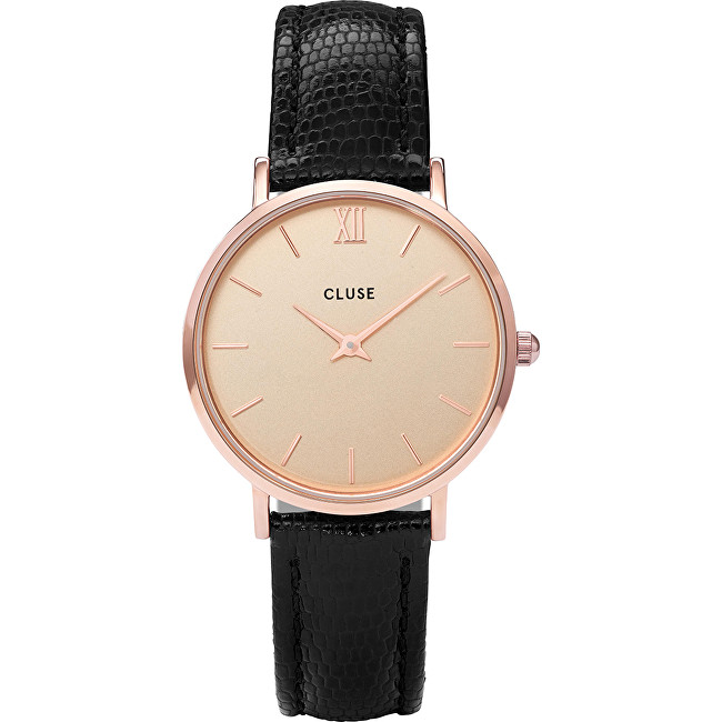 Cluse Minuit Rose Gold Champagne-Black Lizard CL30051