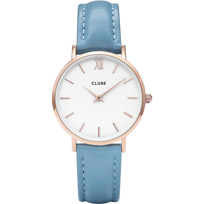 Cluse Minuit Rose Gold White-Retro Blue CL30046