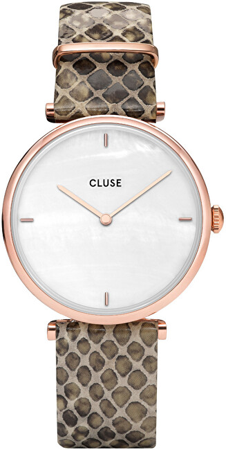 Cluse Triomphe Rose Gold White Pearl-Soft Almond Python CL61007