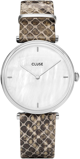 Cluse Triomphe Silver White Pearl-Soft Grey Python CL61009