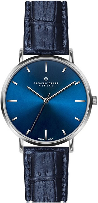 Frederic Graff Silver Mont Fort Croco Blue Leather FBJ-B038S