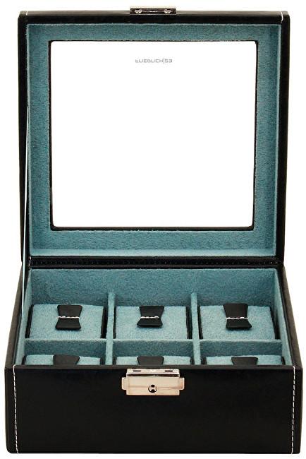 Fotografie Černý box na 6 hodinek s průhledným víkem Friedrich Lederwaren Bond