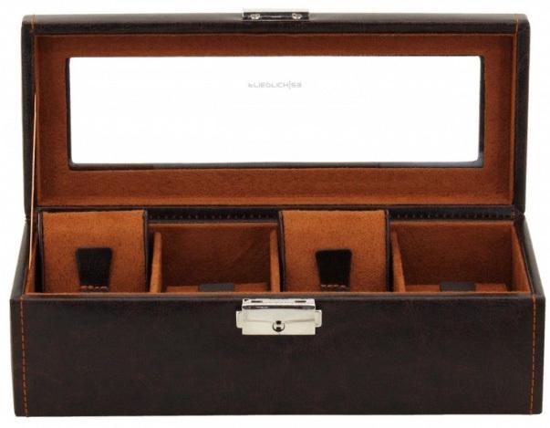 Fotografie Hnědý box na čtvery hodinky Friedrich Lederwaren Bond