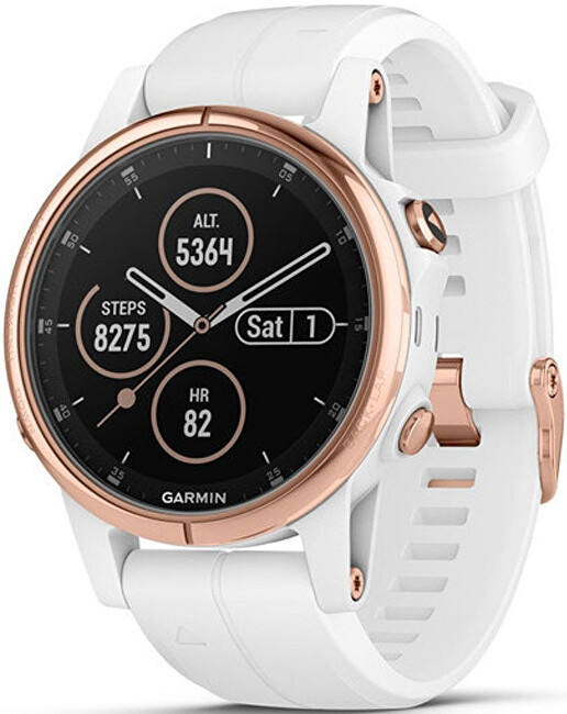 Garmin Fenix 5S Plus Sapphire Rose Gold, White Band
