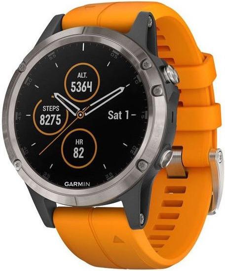 Garmin Fenix 5S Plus Sapphire Titanium Solar, Flare Orange