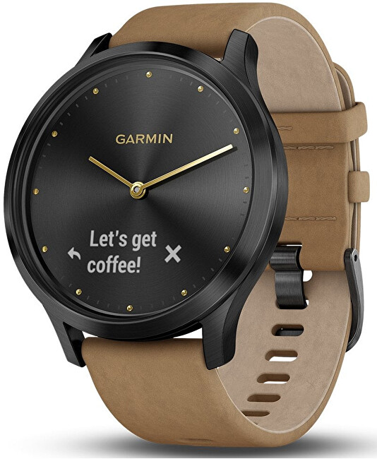 Garmin Vívomove Optic Premium Black, Tan Band (velikost S M)