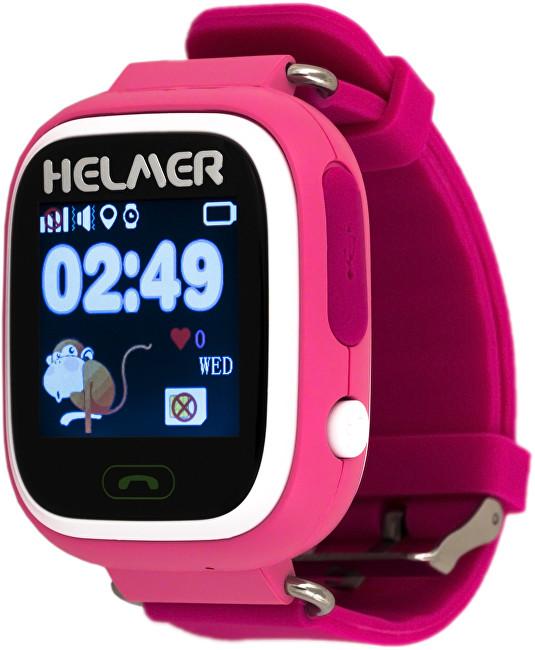 Helmer Chytré dotykové hodinky s GPS lokátorem a SIM kartou GoMobil s kreditem 50 Kč LK 703 růžové - SLEVA