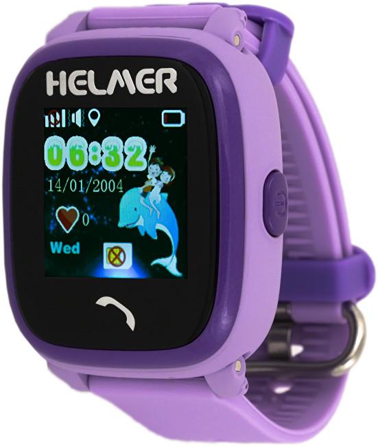 Helmer Chytré dotykové vodotěsné hodinky s GPS lokátorem a SIM kartou GoMobil s kreditem 50 Kč LK 704 fialové