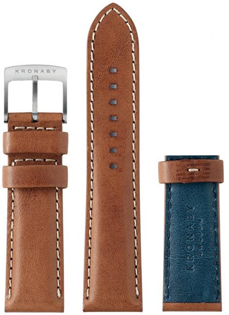 Kronaby Řemínek hnědý/modrý 22 mm A1000-0735