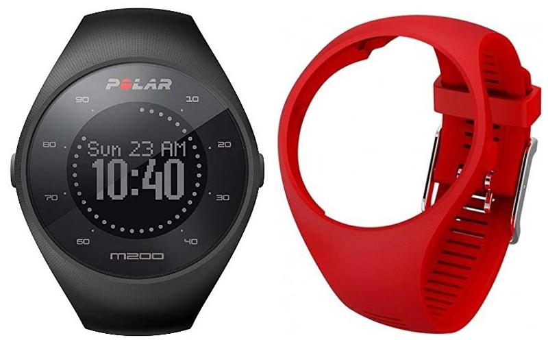 Polar POLAR M200 černý M/L s řemínkem - červený
