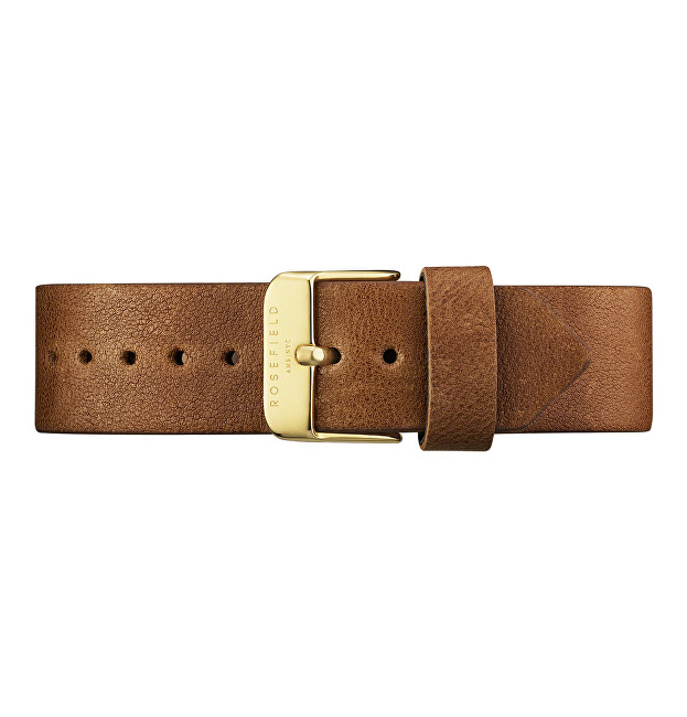 Rosefield Brown Leather Gramercy Strap Gold
