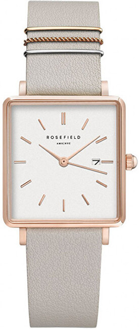 Rosefield The Boxy White Cool Grey Rose Gold QCGRGQ028