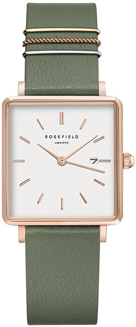 Rosefield The Boxy White Fresh Olive Green Rose Gold QOGRGQ027