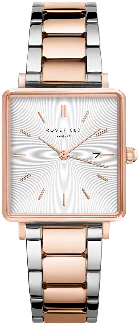 Rosefield The Boxy White Sunray Steel Silver Rose gold Duo QWSSRG-Q044