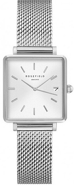 Rosefield The Mini Boxy XS White Sunray Mesh Silver QMWMS-Q038