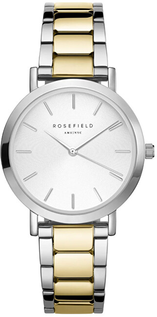 Rosefield The Tribeca White Sunray Steel Silver Gold Duo TWSSG-T63