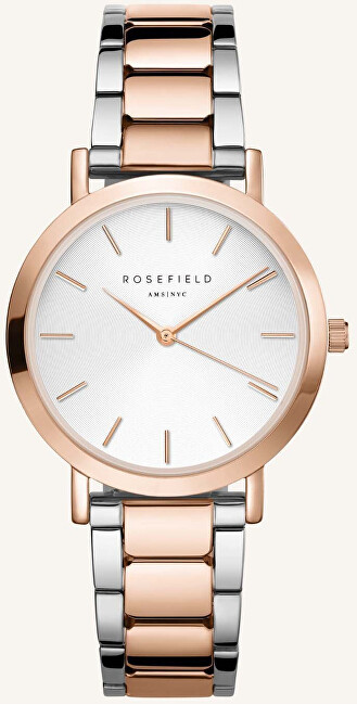 Rosefield The Tribeca White Sunray Steel Silver Rose Gold Duo TWSSRG-T64