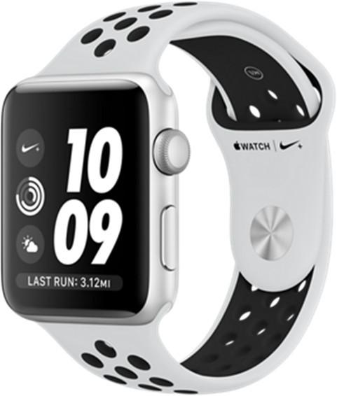 Apple Watch Nike+ 42 mm stříbrný hliník s platinovým/černým Nike sportovním řemínkem - SLEVA
