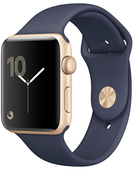 Apple Watch Series 2 42mm zlatý hliník s půlnočně modrým sportovním řemínkem - SLEVA