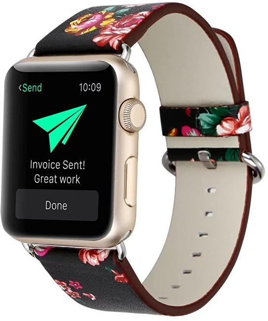 Wotchi Kožený řemínek pro Apple Watch s motivem květin 38/40 mm