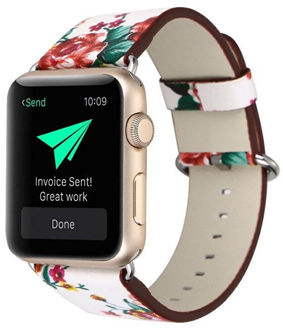 Wotchi Kožený řemínek pro Apple Watch s motivem květin - Bílý 38/40 mm
