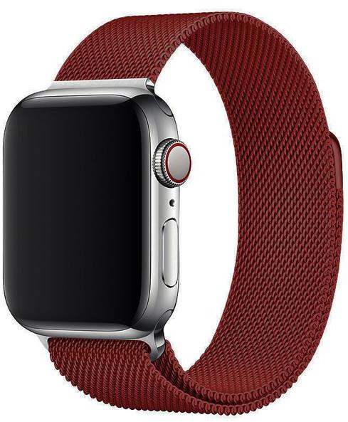 Wotchi Ocelový milánský tah pro Apple Watch - Vínový 38/40 mm
