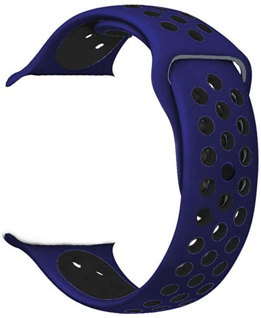 4wrist Silikonový řemínek pro Apple Watch - Modrá/Černá 42/44 mm