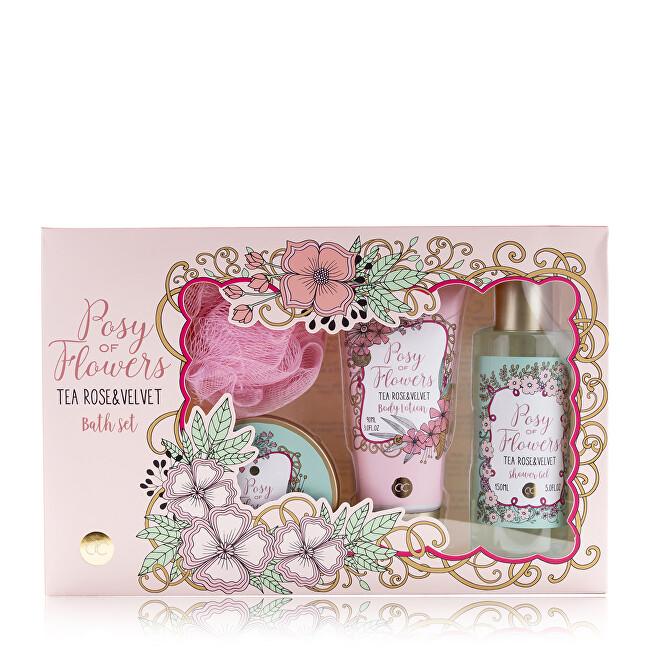 Accentra Kosmetická sada tělové péče s vůní čajové růže a velvetu Posy of Flowers