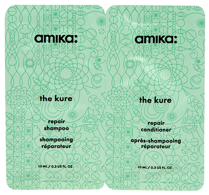 Amika Mini set vlasové kosmetika pro suché a poškozené vlasy The Kure 2 x 10 ml