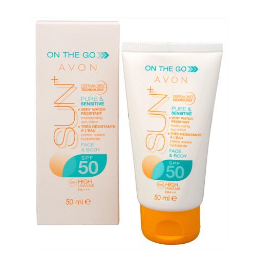Avon Hydratační voděodolné pleťové mléko na opalování SPF 50 SUN+ (Moisturising Sun Lotion) 50 ml