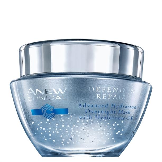 Avon Noční hydratační pleťová maska s komplexem Hyaluronic 3X Anew Clinical (Defend & Repair Overnight Mask) 50 ml
