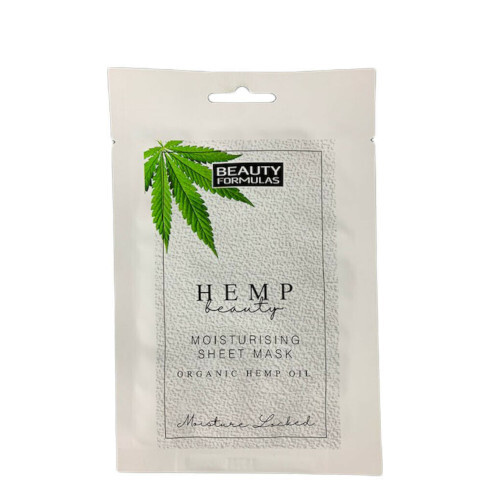 Beauty Formulas Hydratační pleťová maska s konopím Hemp Beauty Moisturising Sheet Mask Organic Hemp Oil 1 ks