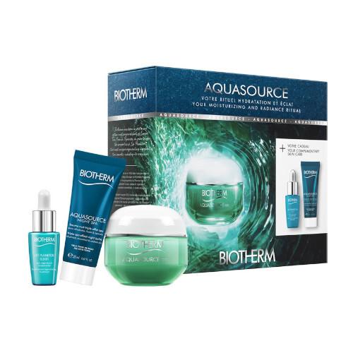 Biotherm Aquasource pro ženy denní pleťová péče 50 ml + pleťové sérum Life Plankton 7 ml + noční pleťový balzám Aquasource Night Spa 20 ml dárková sada