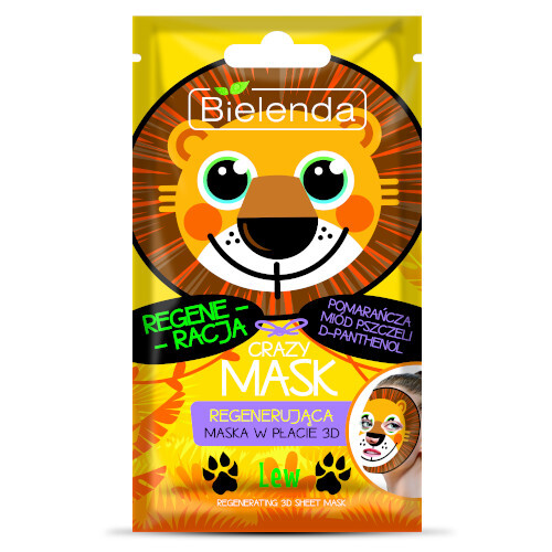 Bielenda Regenerační maska 3D Crazy Mask (Regenerating 3D Sheet Mask Lion) 1 ks