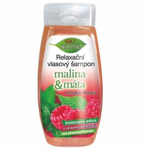 Bione Cosmetics Relaxačné vlasový šampón Malina & Mäta 260 ml