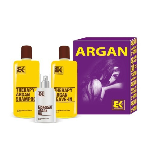 BK Brazil Keratin Argan šampón 300 ml + Leave-in Balm 300 ml + Argan oil 100 ml darčeková sada