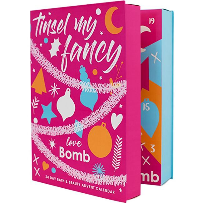 Bomb Cosmetics Obří adventní kalendář 24 produktů koupelové a Beauty kosmetiky (Tinsel My Fancy Bath & Beauty Advent Calendar) - SLEVA - poškozená krabička