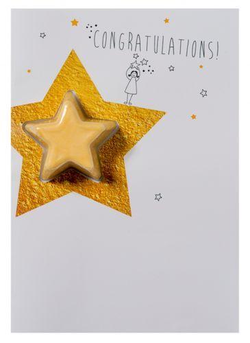 Bomb Cosmetics Šumivé přání s balistikem do koupele Congratulations Star (Blaster Card) 45 g