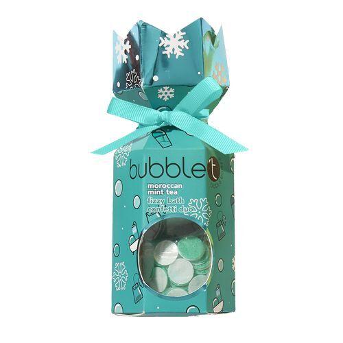 Bubble T Cosmetics Vánoční crecker s šumivou bombou do koupele a konfetami - marocký mátový čaj (Fizzy Bath Confetti duo) 40 g