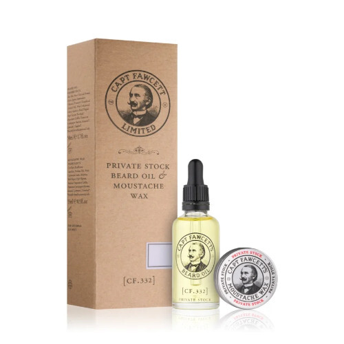 Captain Fawcett Private Stock vodka na knír 15 ml + ole na plnovous 50 ml dárková sada