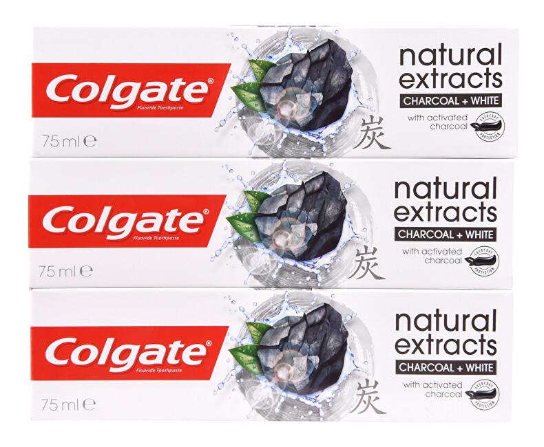 Colgate Bělicí zubní pasta s aktivním uhlím Naturals Charcoal Trio 3 x 75 ml