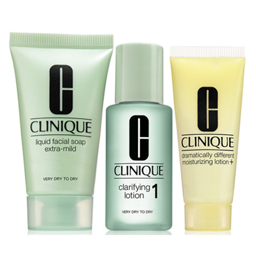 Clinique 3step Skin Care System1 50 ml Liquid Facial Soap Extra Mild + 100 ml Clarifying Lotion 1 + 30 ml DDML dárková sada