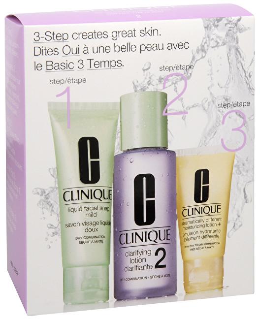 Clinique Základní cestovní péče pro suchou až smíšenou pleť: Tekuté čistící mýdlo na obličej 50 ml + Čisticí tonikum 100 ml + Hydratační emulze 30 ml