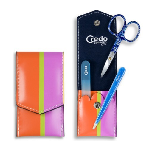 Credo Solingen Luxusní 3 dílná manikúra Pop Art 3 - modrá
